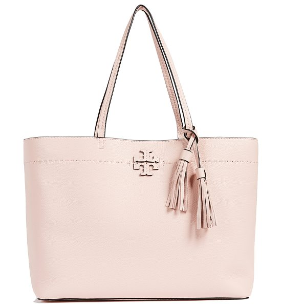 Tory Burch mcgraw tote in pink quartz - Leather: Cowhide Spring-lock clasp at front Pouch...