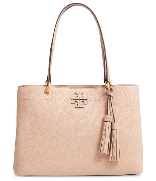 Tory Burch mcgraw triple compartment leather satchel in beige