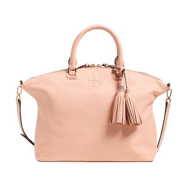 Tory Burch Medium thea satchel in pale apricot - Impeccable logo stitching graces a lightly slouchy...