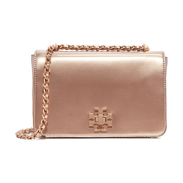 Tory Burch Mercer adjustable shoulder bag in rose gold - A structured Tory Burch shoulder bag in metallic patent...