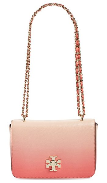 Tory Burch Mercer convertible leather shoulder bag in spiced coral dgrade