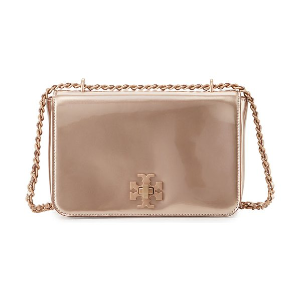 Tory Burch Mercer metallic pvc shoulder bag in rose gold