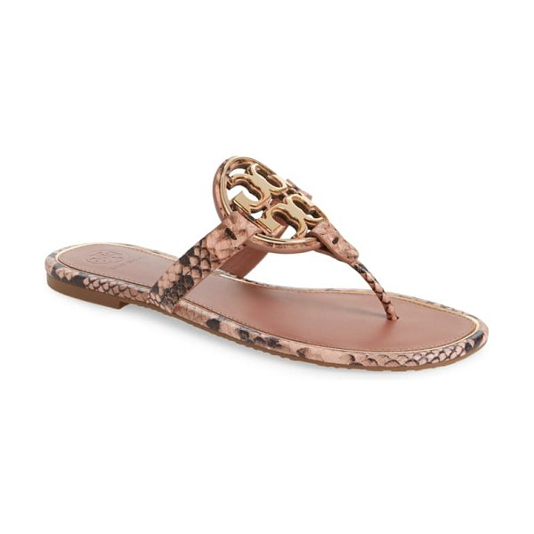 Tory Burch metal miller flip flop in pink