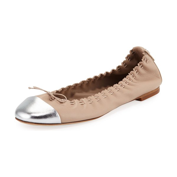Tory Burch Metallic Cap-Toe Leather Ballet Flats in lt taupe silver