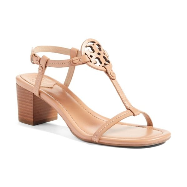Tory Burch miller block heel sandal in makeup - A cutout logo medallion anchors the T-strap of a barely...