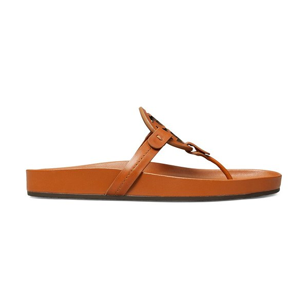 Tory Burch miller cloud leather thong slides in aged camel