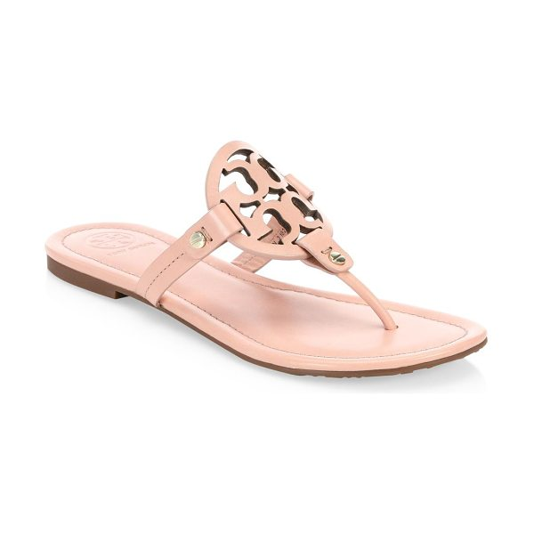 Tory Burch miller leather thong sandals in clay pink