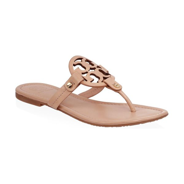 Tory Burch miller leather thong sandals in beige - Leather sandals with logo detailing on vamp. Leather...