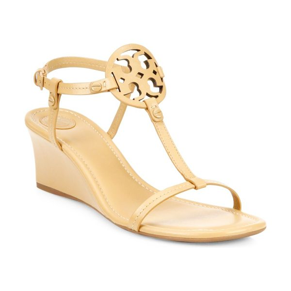 TORY BURCH miller leather wedge sandals in dusty cypress - Graceful wedge sandals with openwork logo accent....
