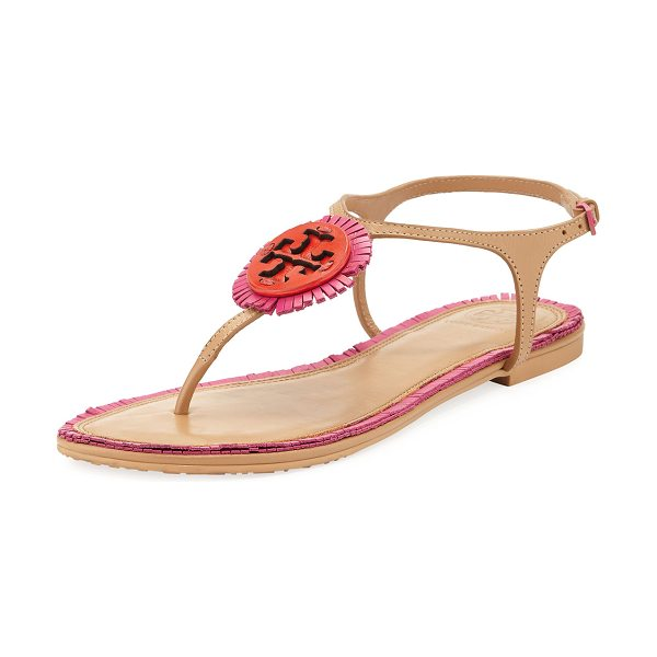 Tory Burch Miller Logo Fringe Flat T-Strap Sandal in pink - Tory Burch colorblock napa leather sandal with fringe...