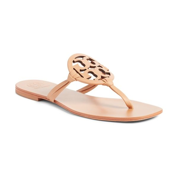 Tory Burch miller logo thong sandal in natural vachettea - A chic double-T logo at the vamp is all you need to make...