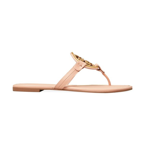 Tory Burch miller metal leather thong sandals in pink moon