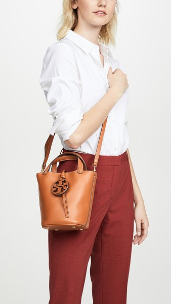 Tory Burch miller mini bucket bag in aged camello