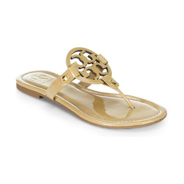 Tory Burch miller patent leather logo thong sandals in sand - Patent thong sandal with distinguished logo vamp. Patent...
