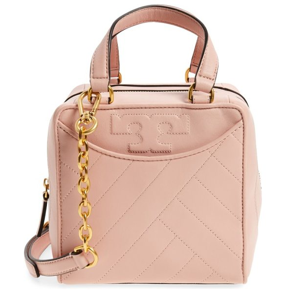 Tory Burch mini alexa leather satchel in dark pink quartz - Modern channel quilting and stitched logos make this...