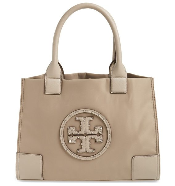 Tory Burch mini ella studded nylon tote in french gray - A classic tote is crafted from durable nylon and...