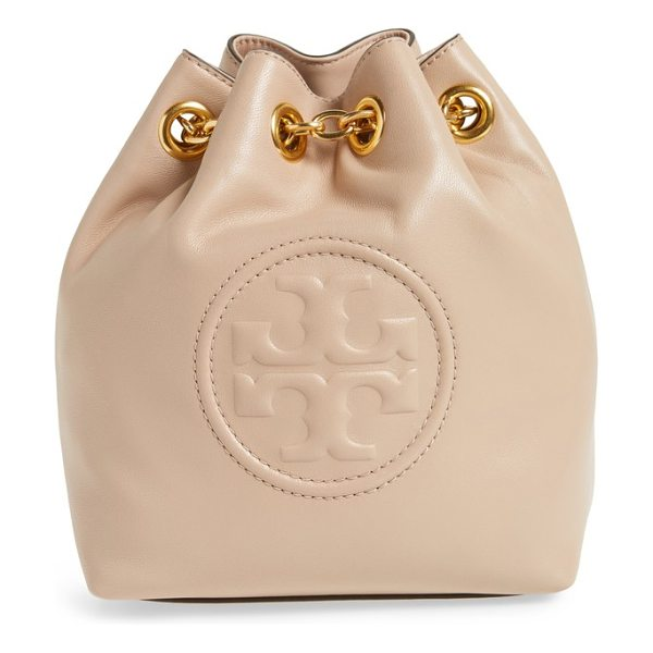 TORY BURCH mini fleming leather backpack in new mink - The brand's stacked-T logo is debossed on the front of a...