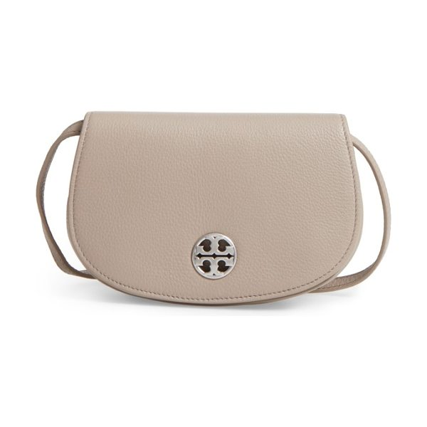 TORY BURCH mini jamie leather crossbody bag in french gray - A curved silhouette adds subtle equestrian influence to...