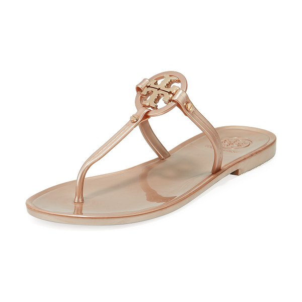 Tory Burch Mini Miller Flat Jelly Thong Sandals in rose gold