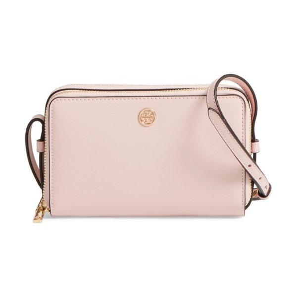 TORY BURCH mini parker leather crossbody bag in pink quartz - Sophisticated in its simplicity, this structured leather...