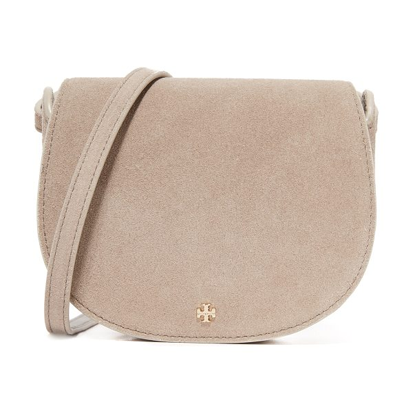 Tory Burch Mini saddle bag in french gray - A petite Tory Burch saddle bag in rich suede. Slim back...