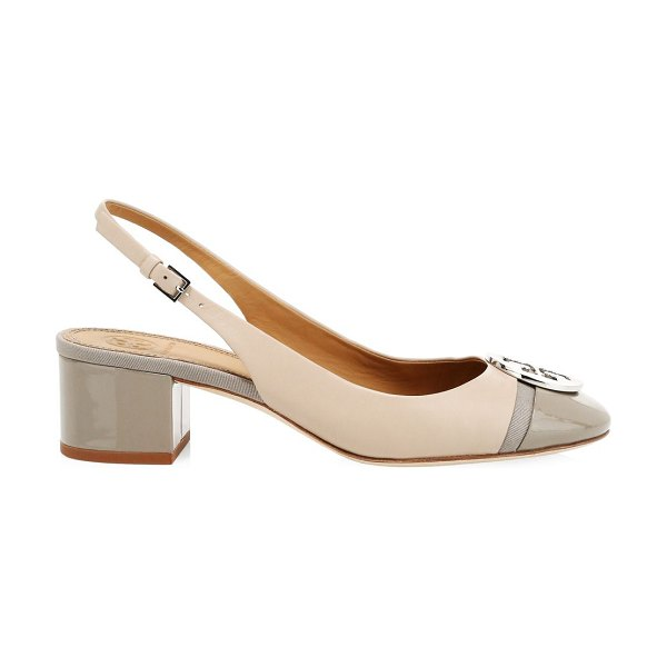 Tory Burch minnie colorblock leather slingback pumps in light taupe