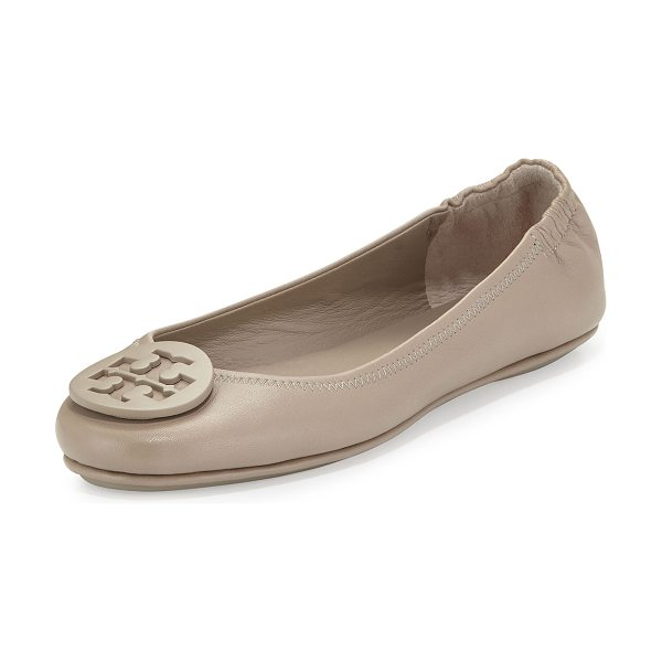 Tory Burch Minnie Leather Logo Travel Flat in french gray - Tory Burch napa leather ballerina flat. Folds in half...