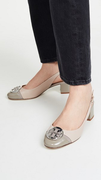 Tory Burch minnie slingback pumps 55mm in light taupe/grey heron