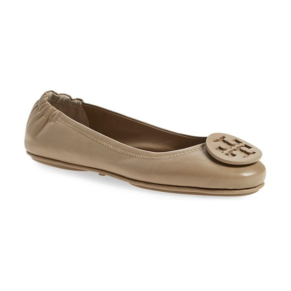 Tory Burch minnie travel ballet flat in french gray - A polished double-T logo medallion tops the rounded toe...