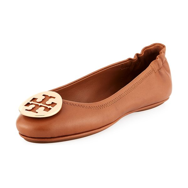 Tory Burch Minnie Travel Logo Ballet Flats in royal tan gold - Tory Burch soft napa leather ballerina flat. Folds in...