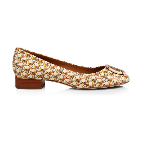 Tory Burch multi-logo print leather pumps in pink canin