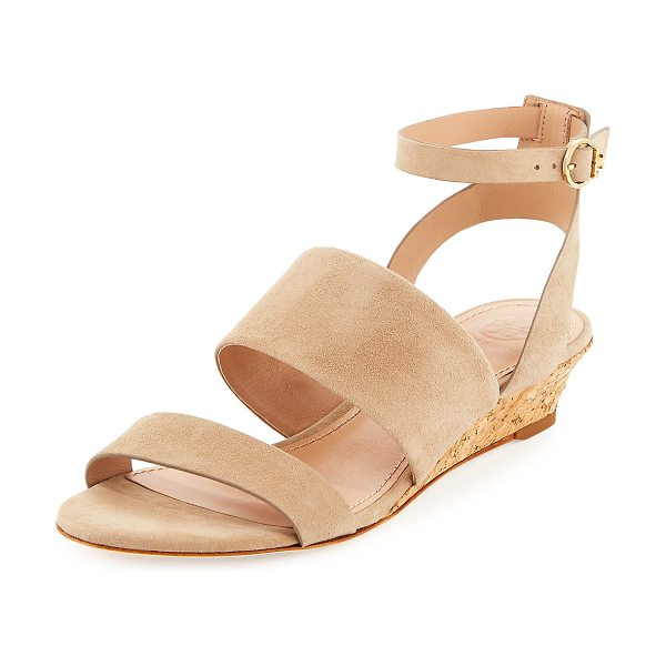 """TORY BURCH North Suede Low-Wedge Sandal - Tory Burch suede sandal in simple banded design. 1.5""""..."""