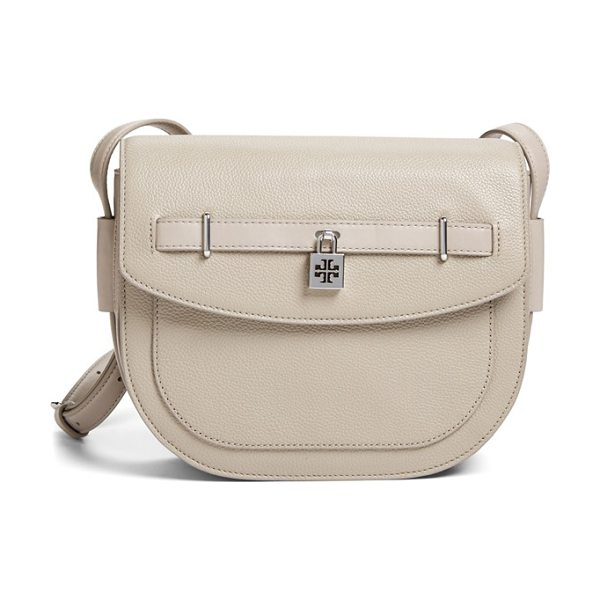 Tory Burch Padlock leather crossbody bag in french gray