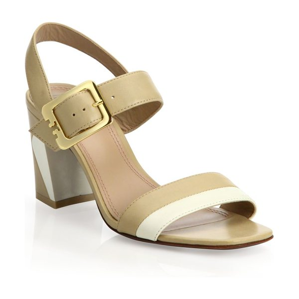 Tory Burch Palermo leather slingback sandals in beige-ivory - Golden buckle secures colorblocked leather...