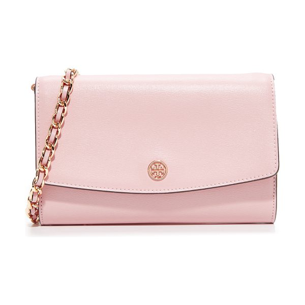 Tory Burch parker chain wallet in pink quartz - A large Tory Burch wallet in slightly textured leather....