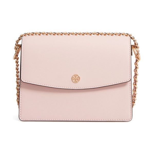 TORY BURCH parker leather shoulder/crossbody bag in pink quartz/ cardamom - A polished stacked-T logo medallion marks the flap of a...