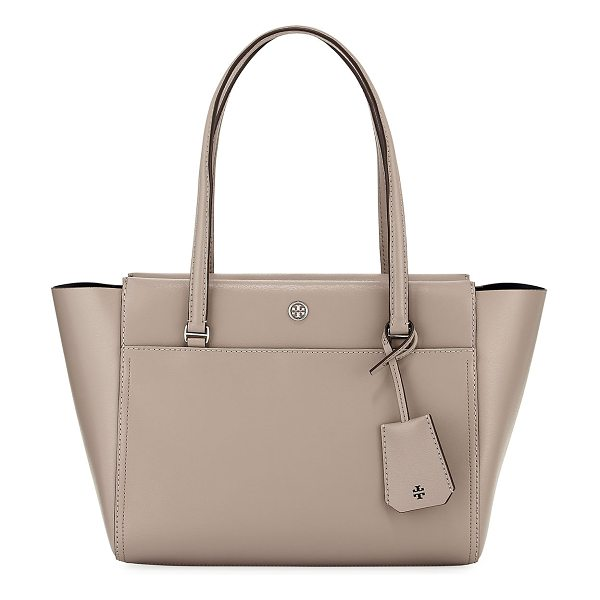Tory Burch Parker Small Tote Bag in dust storm - Tory Burch leather tote bag. Flat top handles with...