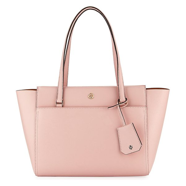 Tory Burch Parker Small Tote Bag in pink quartz - Tory Burch leather tote bag. Flat top handles with...
