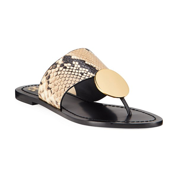 Tory Burch Patos Disk Leather Flat Slide Sandals in desert roccia