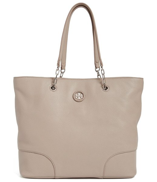 Tory Burch Pebbled leather tote in french gray - Polished enough for the workplace and convenient enough...