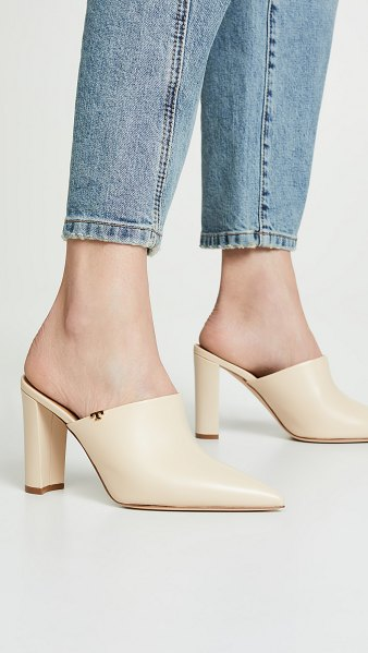 Tory Burch penelope 90mm mules in new cream - Leather: Calfskin Logo accent Mules Chunky heel Pointed...