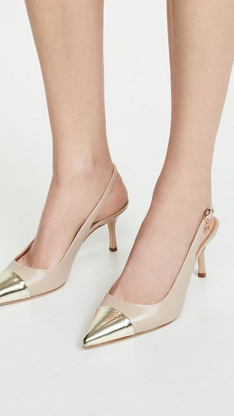 Tory Burch penelope cap toe slingback pumps in light taupe/spark gold - Leather: Cowhide Metallic toe cap Brand charm at ankle...