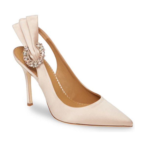 Tory Burch penelope crystal fan pointed toe slingback pump in beige