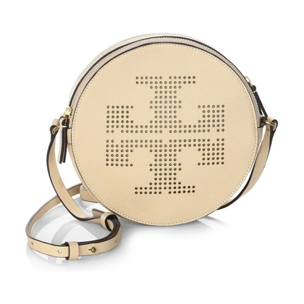 Tory Burch perforated logo crossbody bag in sand dune - Circular crossbody bag with a perforated logo front....