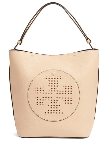 Tory Burch perforated logo leather hobo in sand dune/ tory navy - Updated with a perforated logo, this streamlined hobo is...