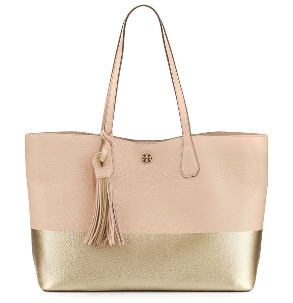 TORY BURCH Perry Colorblock Leather Tote Bag in light oak/gold - ONLYATNM Only Here. Only Ours. Exclusively for You. Tory...