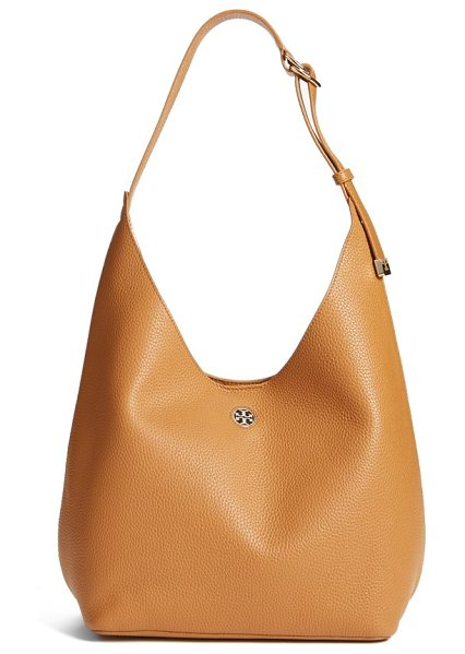 Tory Burch 'perry' leather hobo in bark/ light gold