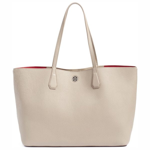 Tory Burch 'perry' leather tote in french grey/ dark peony - A lightly structured tote cut from buttery pebbled...