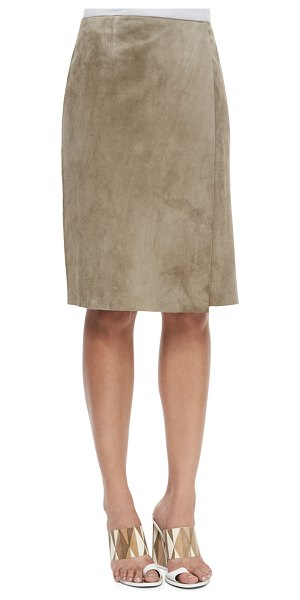 Tory Burch Portabello faux-wrap suede skirt in taupe