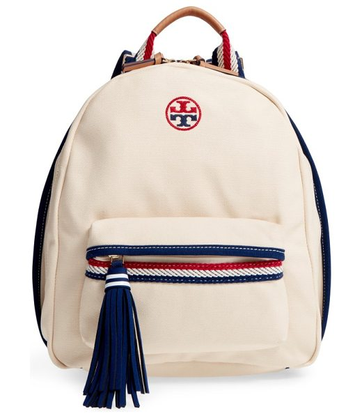 Tory Burch preppy canvas backpack in natural - Ropy nautical trim and straps add to the fun, preppy...